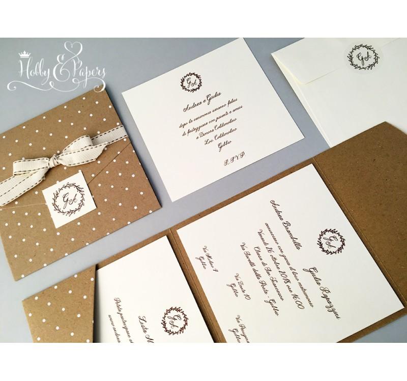 Partecipazioni Matrimonio Pois.Pois Partecipazione Pocket Hobby Papers