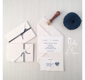 partecipazione origami blu smocking