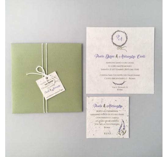 Partecipazioni Matrimonio Lavanda.Lavanda Partecipazione Quadrata Hobby Papers